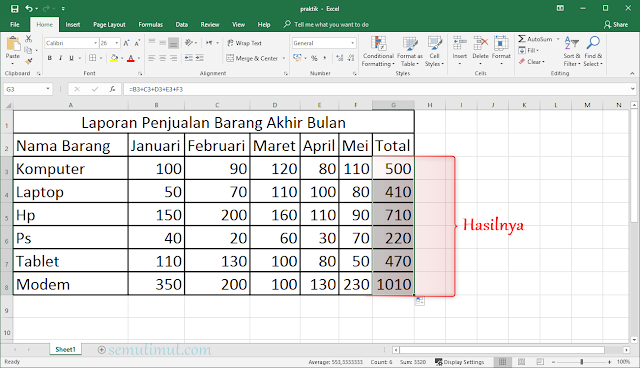 membuat tabel di ms excel