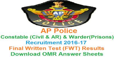 AP PCs (Civil/AR) & Warder (Prisons) FWT Results 2017