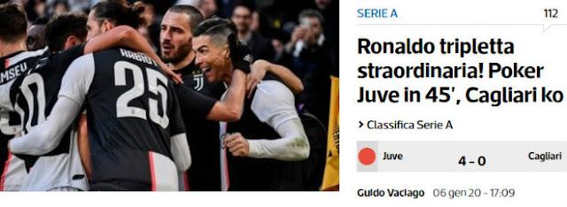 """Ronaldo lập hat-trick phi thường chào 2020: Báo Italia tung hô, ví như """"máy ủi"""" 2"""