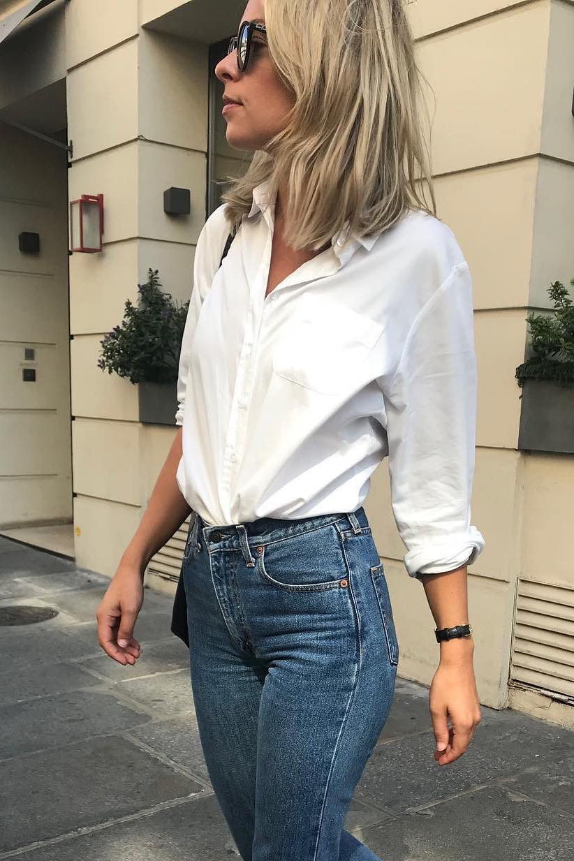 French Girl 3-Piece Spring Outfit Idea — white button-down shirt, slim fit jeans, and Hermes black slide sandals