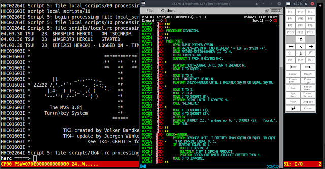 Sieve of Eratosthenes COBOL source on IBM Mainframe MVS 3.8J TK4- Operating System