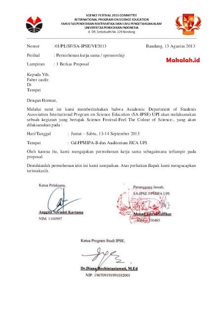 Contoh Surat Permohonan Kerjasama (via: makalah.id)