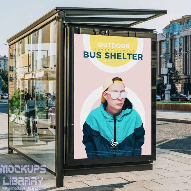 advertisement bus shelter mockup psd