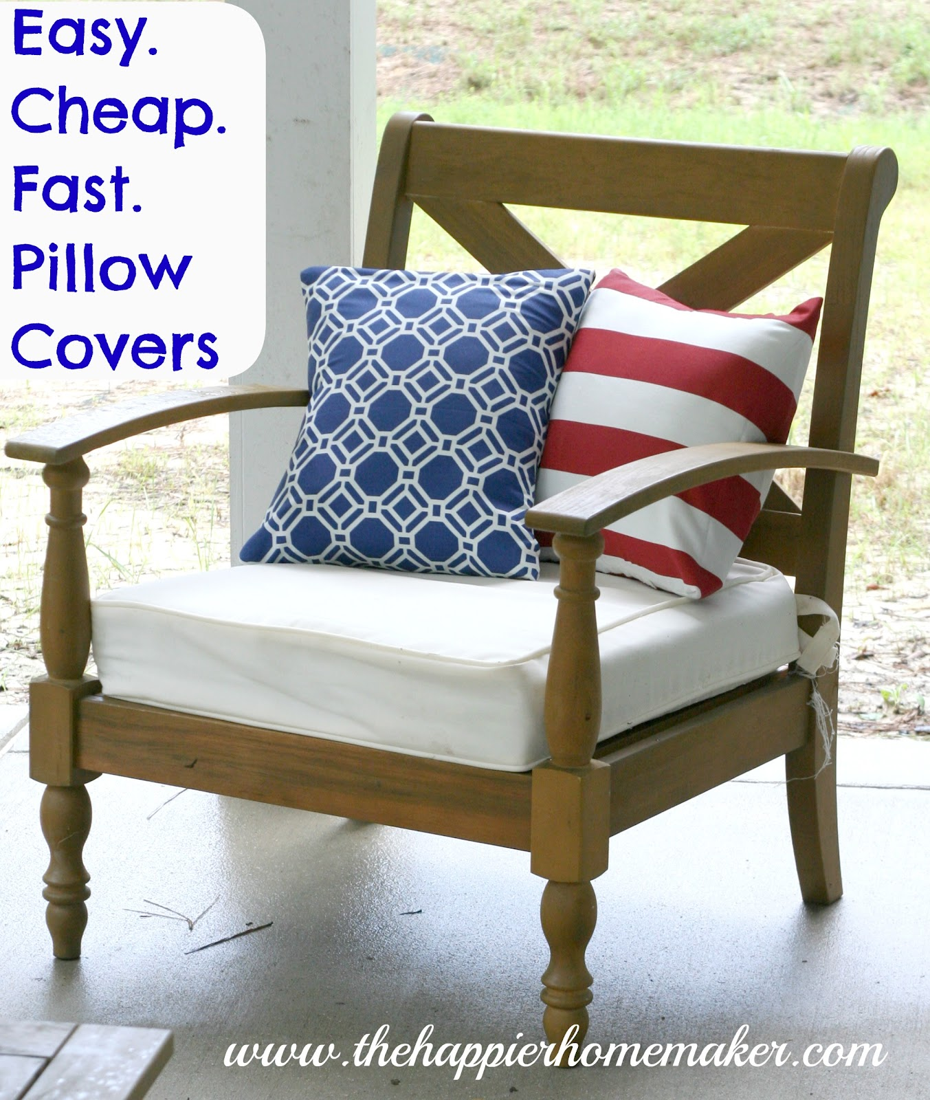 wooden patio chair with white cushion and patriotic red white and blue pillows