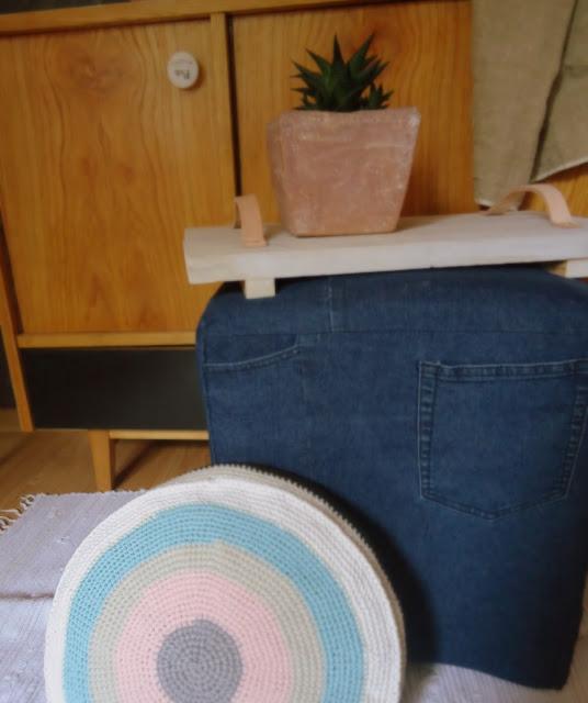 jeansowy puf, odnawiamy stary stary puf