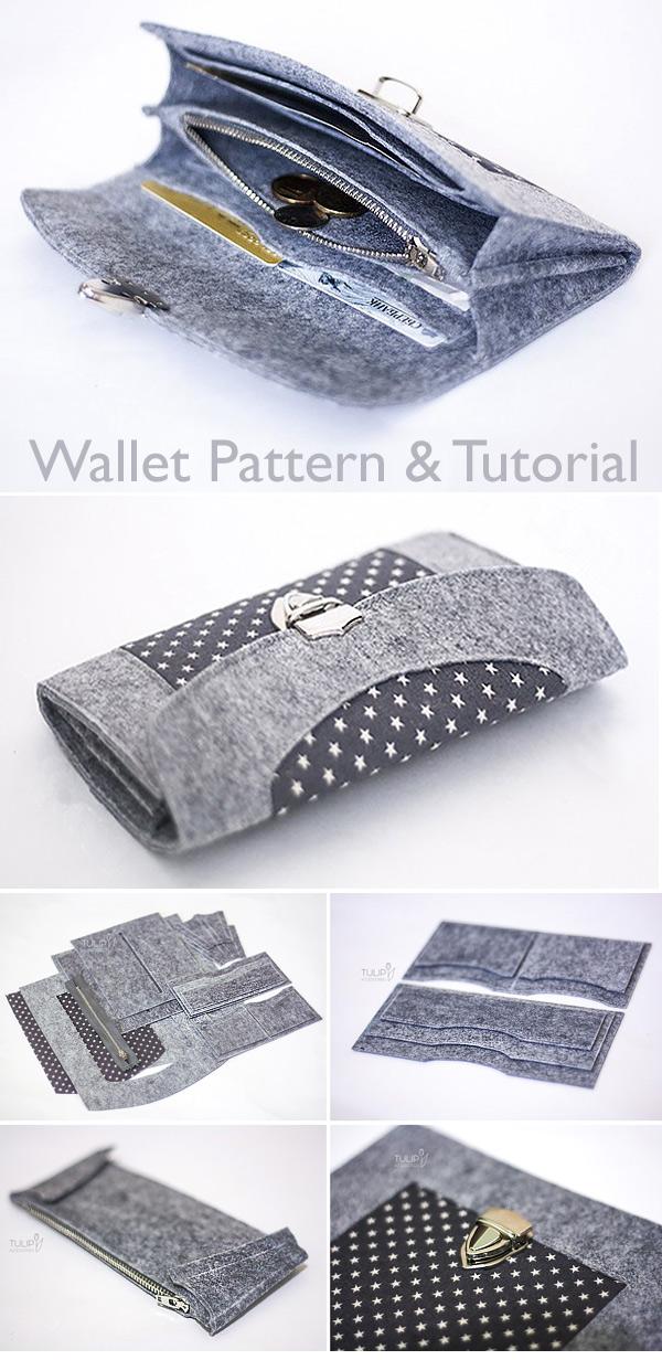 How to Sew a Felt Wallet / Purse. Tutorial