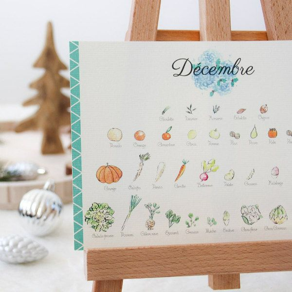 perpetual calendar with watercolor illustrations of French fruits and vegetables