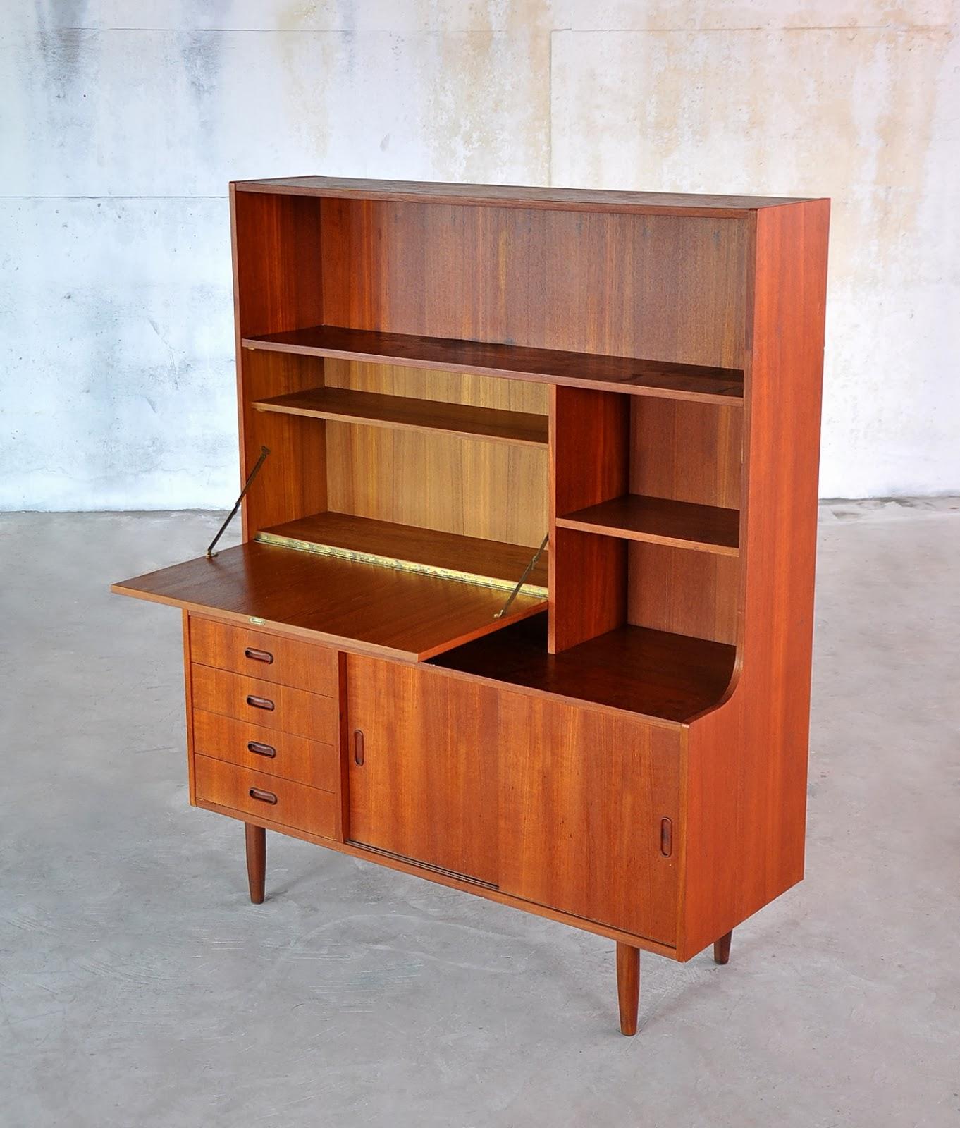 Select Modern Danish Modern Bookcase Secretary Desk