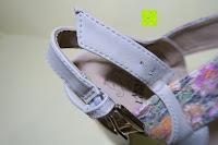 Schnallenverschluss: Alexis Leroy Blockabsatz Blume gedruckt Damen Offene Sandalen mit Keilabsatz