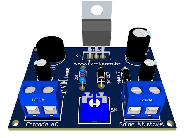 Fonte ajustável 1.25V - 37V - 3 Amperes - Proteção Curto-Circuito LM350 + PCI