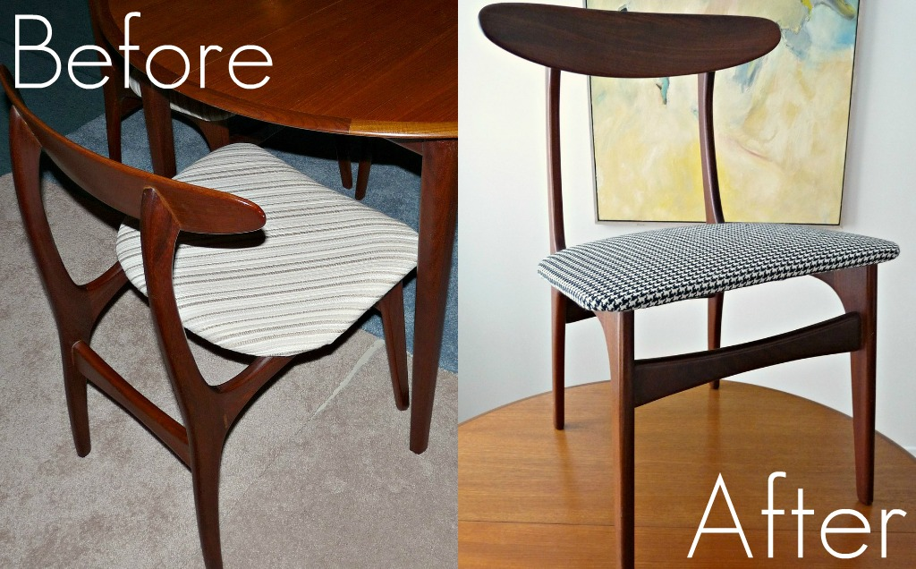 Reupholster Dining Chairs Antique Wrought Iron How To Diy Houndstooth Upholstered Vintage Teak