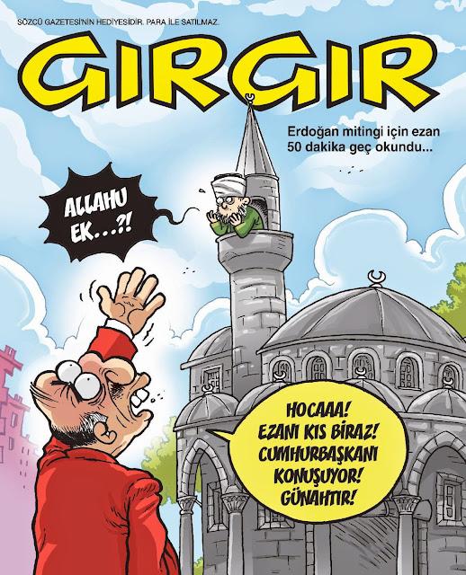 erdoğan miting ezan karikatür