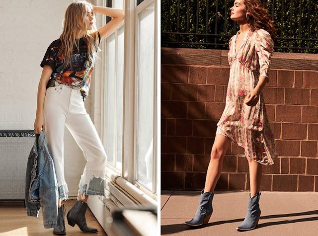 Ковбойские ботинки с джинсами и футболкой и с летящим платьем