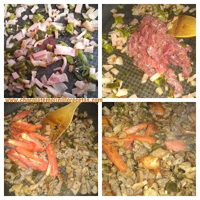 carne con poblano tomate y tocino