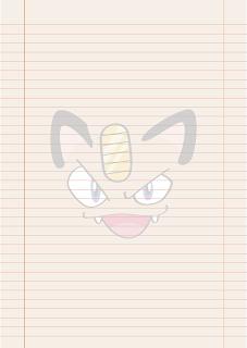 Papel Pautado da Meowth Pokemon PDF para imprimir na folha A4