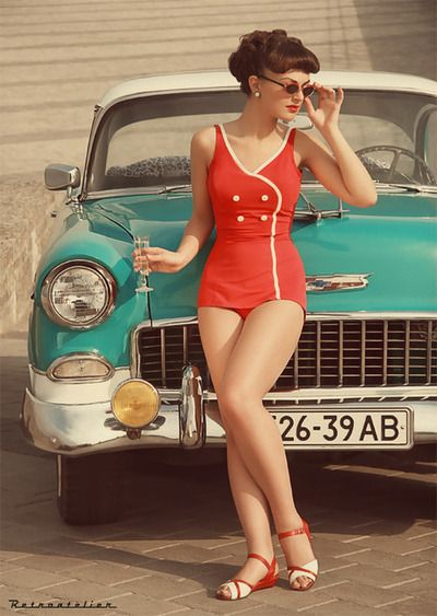 Retro swimsuit red c.1950s Age Appropriate Other stories of Matronly Women. marchmatron.com