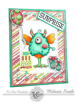 """If you havn't had a visit from the happy """"One Eyed Harry"""" digital stamp available at TLCDesigns.shop, then you don't know what your missing!  This design is created with the Celebrate Frame die and all the bits and bobs that go along with the digital stamp set!  He makes a fun and colorful focal point for sure!"""