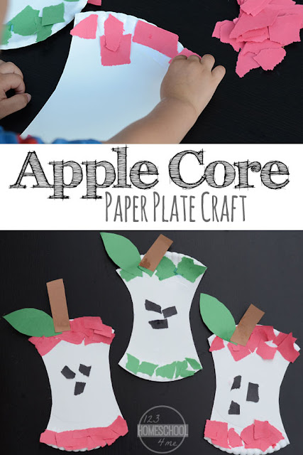 Apple Core Paper Plate Craft - this is such a fun fall craft (apple craft) for toddler, preschool, prek, kindergarten, first grade for September