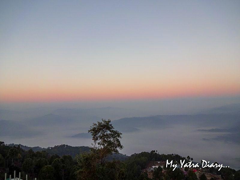 Misty sunrise Alhito cafe, Kasar Devi Uttarakhand