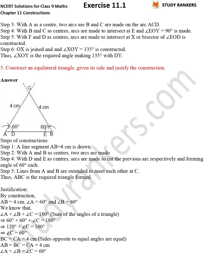 NCERT Solutions for Class 9 Maths Chapter 11 Constructions Exercise 11.1 Part 5