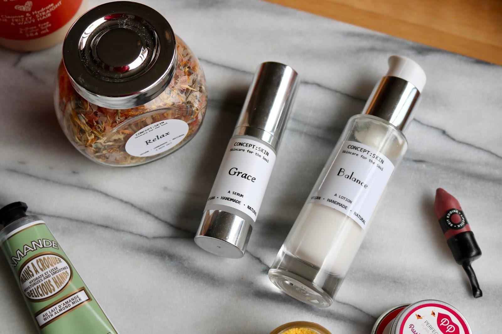Grace Serum, Balance Lotion and Relax Bath Salts
