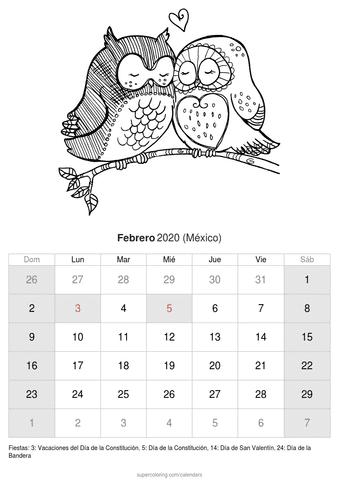 Calendario febrero 2020 sobre aves de méxico