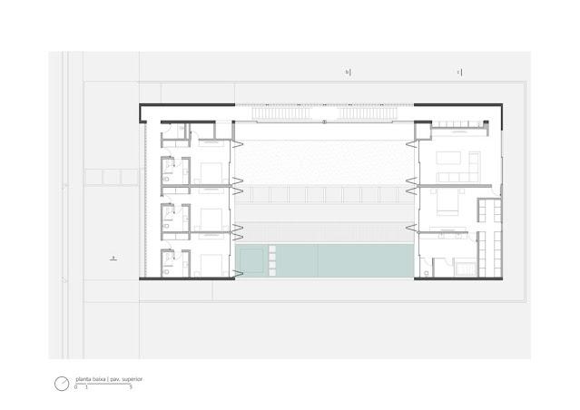 Projeto Casa Ribas criado pelo Estúdio MRGB - Planta Baixa do Primeiro Pavimento