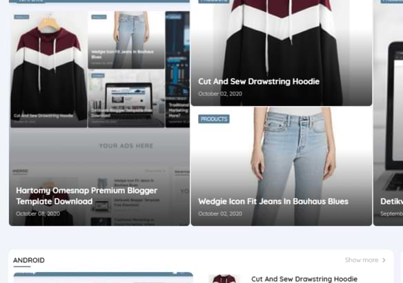 Hartomy Omesnap grid  Best Premimum blogger Template  for free