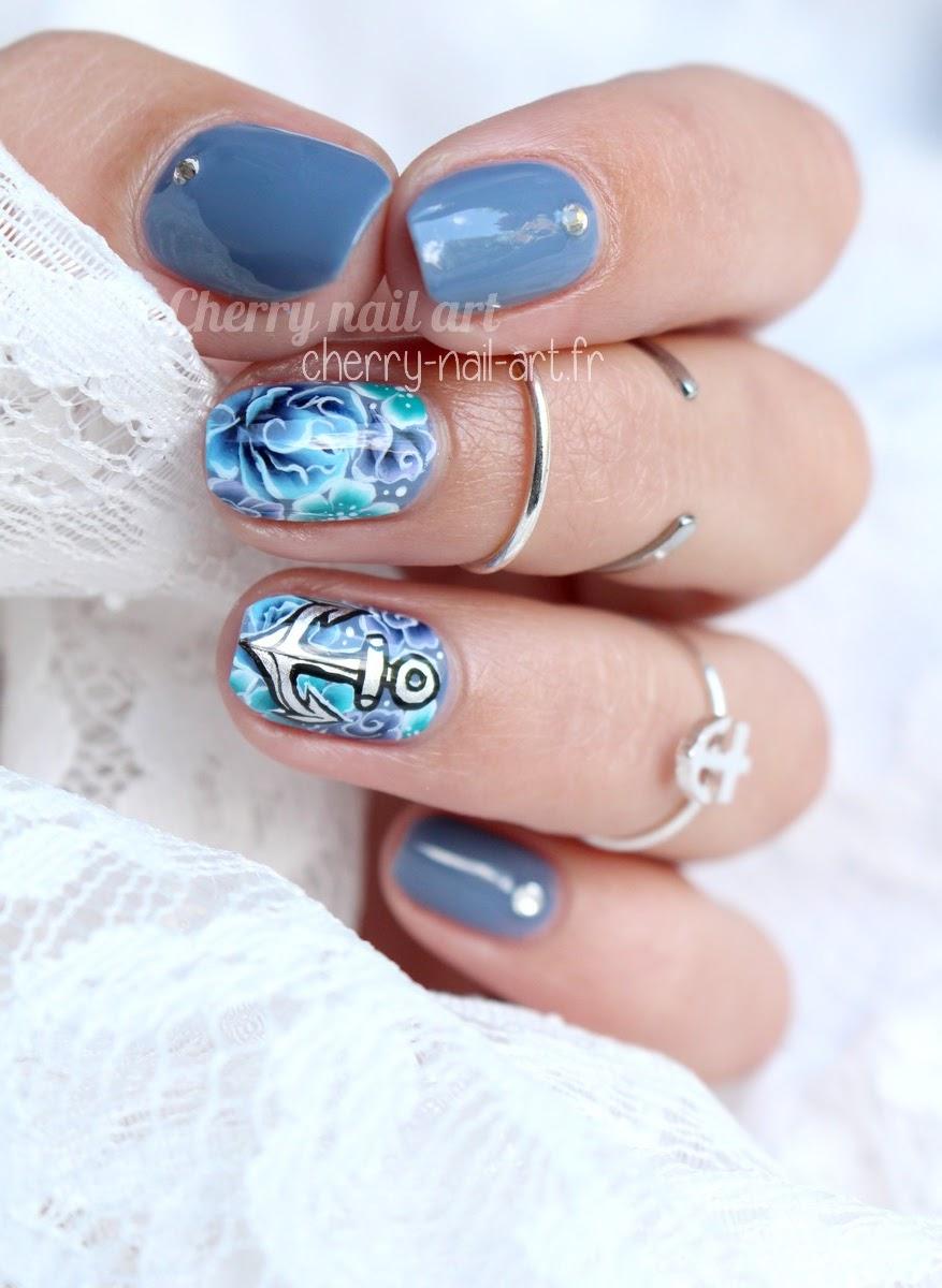 nail-art-ancre-marine-fleurs-one-stroke