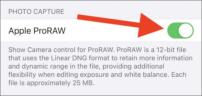التبديل إلى Apple ProRAW