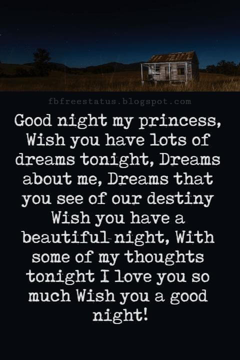 Good Night Poems for Her, Good night my princess, Wish you have lots of dreams tonight, Dreams about me, Dreams that you see of our destiny Wish you have a beautiful night, With some of my thoughts tonight I love you so much Wish you a good night!