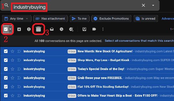 Step3 to delete bulk email