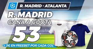Paston megacuota Real Madrid vs Atalanta 16-3-2021