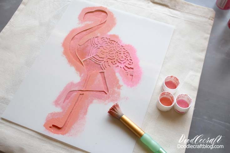 Remove the stencil and wash while the paint is still wet.  Wash the brush and let the image dry.