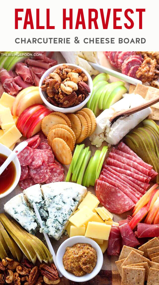 Learn how to make an easy charcuterie board to celebrate the fall season with cured meats, cheese, fruits, nuts & crackers! It's simple to build one in 30 minutes or less & you can make it small or large. This particular board features cheeses & meats from Trader Joes but you can use whatever you have on hand or just browse the pictures for ideas! This platter makes an eye-catching appetizer or snack board for Halloween, Thanksgiving, Christmas, game day, a wedding, or autumn entertaining.