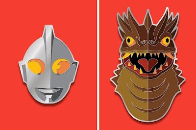 San Diego Comic Con 2019 Exclusive Ultraman Portrait Enamel Pins by Tom Whalen x Yesterdays