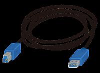 USB3.0端子の付いたケーブルのイラスト(Type-AからType-B)