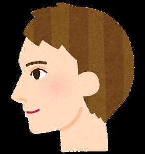 白人男性の横顔のイラスト