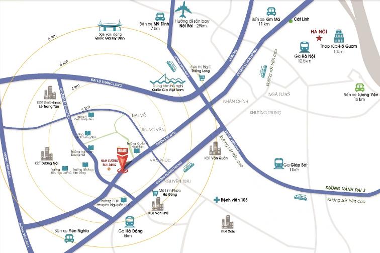 Vị trí dự án chung cư AnLand Complex Nam Cường