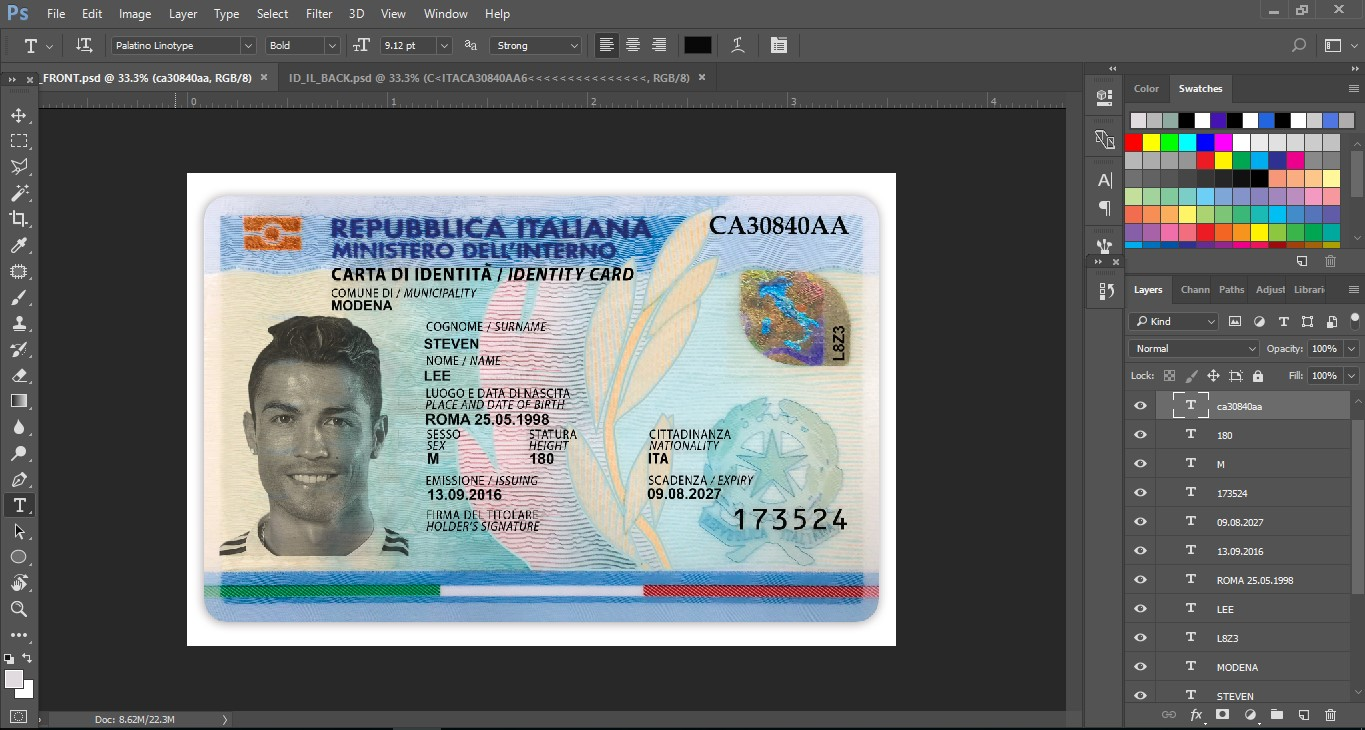 ITALIA ID CARD EDITABLE PSD TEMPLATE - PSD TEMPLATE USA, UK,EU,CA,AU ...