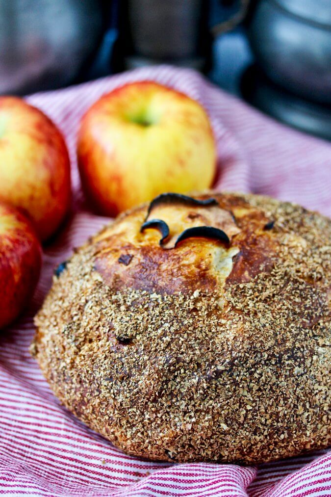 No knead apple bread with an apple slice