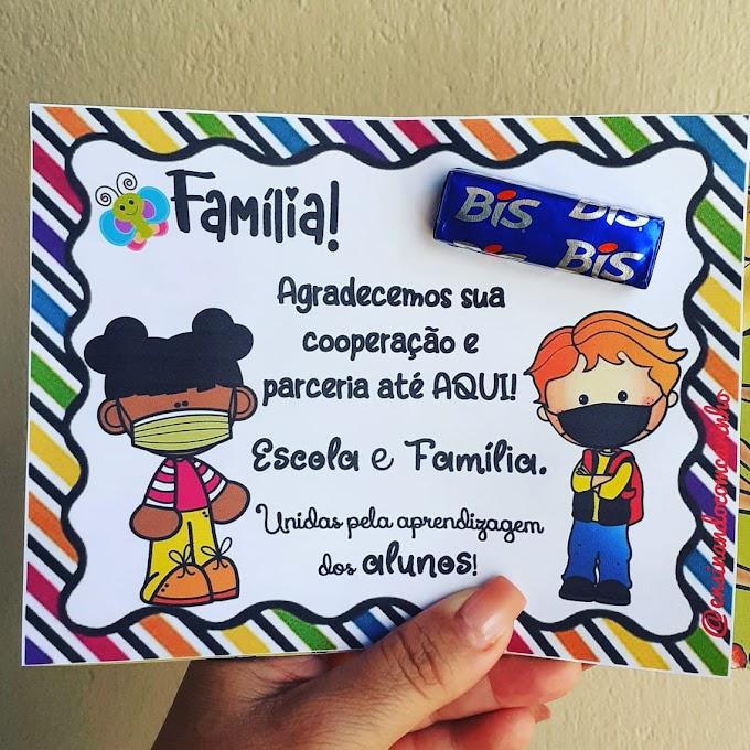 Cartão de parceria entre escola e família com chocolate bis