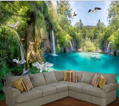 wallpaper dinding 3D danau