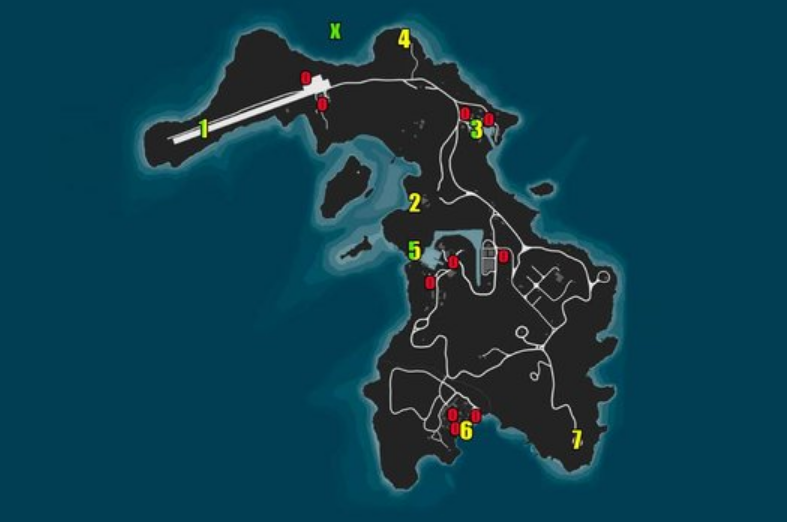 All access points, vanishing points, and secondary objectives - GTA Online map