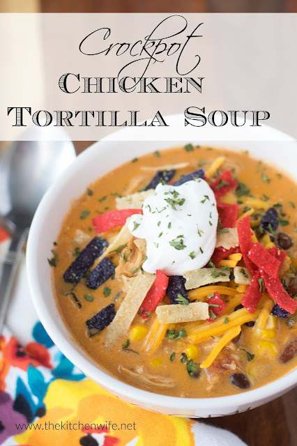A bowl of the finished Chicken Tortilla Soup Recipe topped with tortilla strips, sour cream, and cheese with the title above.