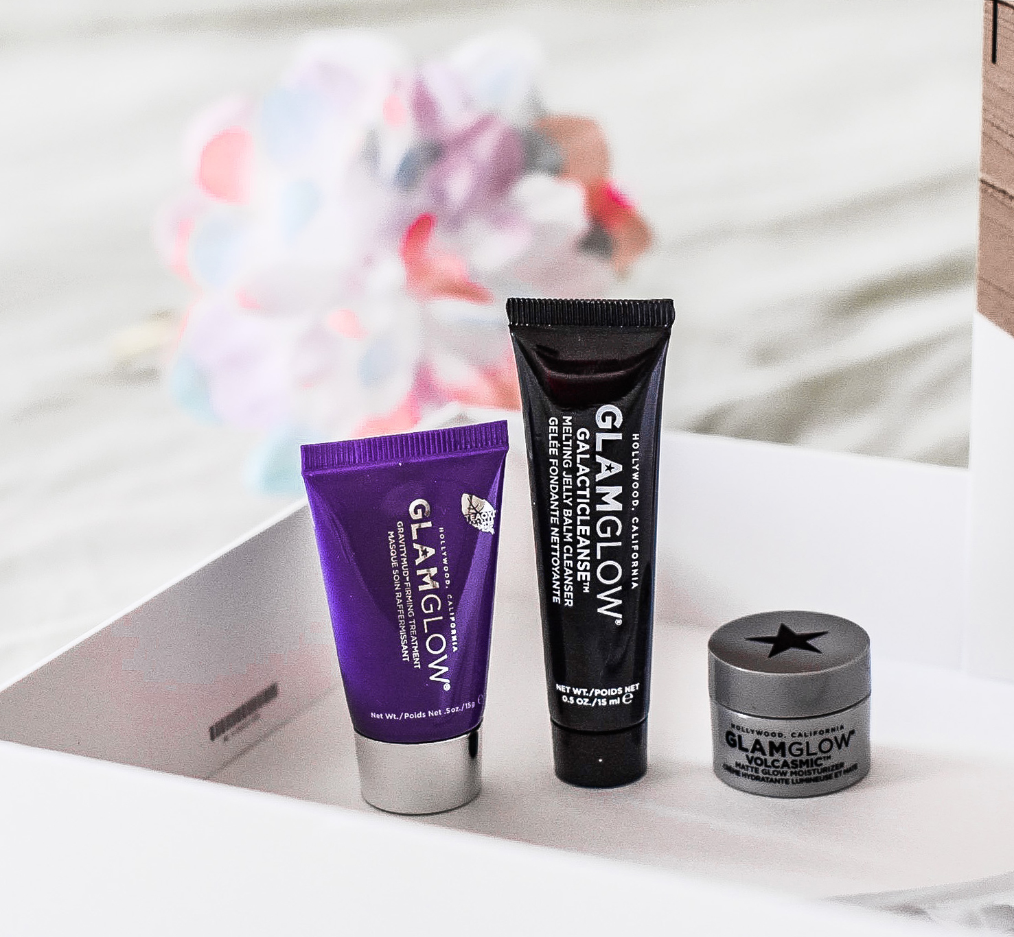 Glamglow Galacticleanse Melting Jelly Balm Cleanser, Glamglow Gravitymud Firming Treatment, Glamglow Volcasmic Matte Glow Moisturizer