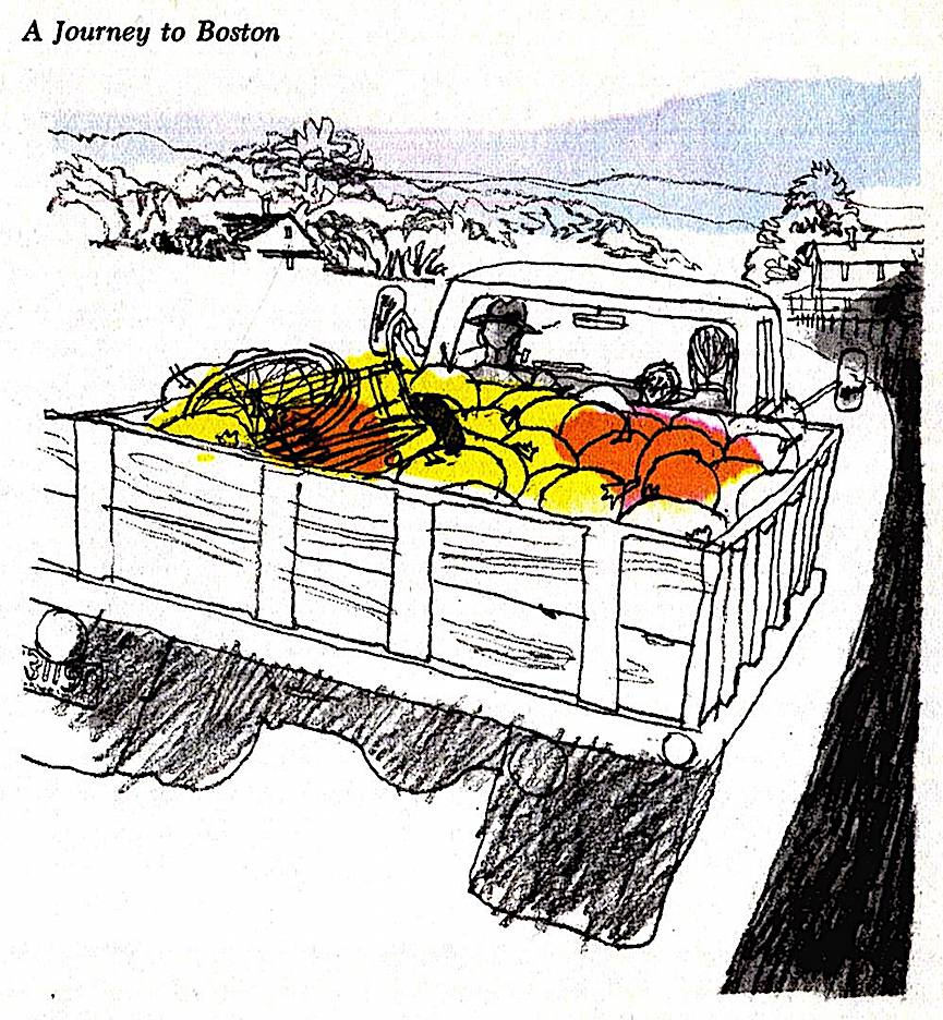 a Ward Brackett illustration, farmer's truck with pumpkins