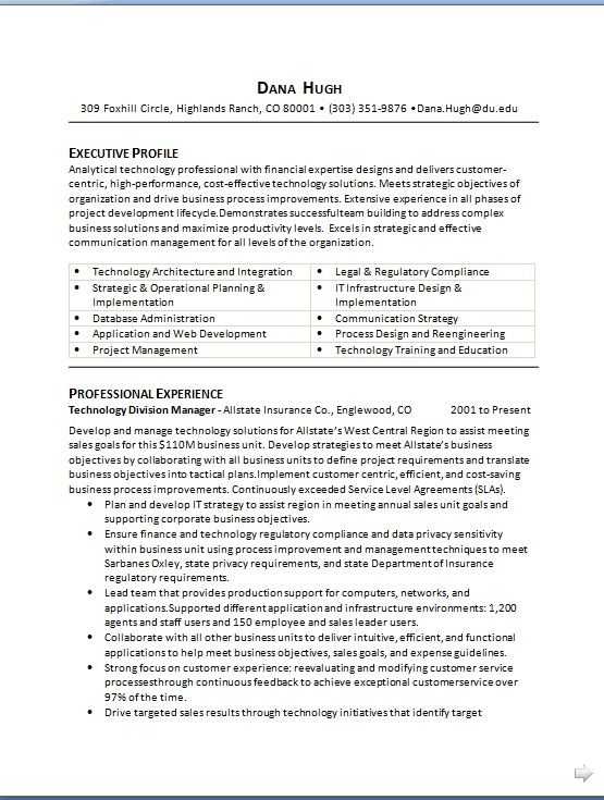 Technology Division Manager Sample Resume Format in Word Free Download