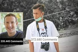 jumlah komentar sulfikar dan mark Zuckerberg facebook