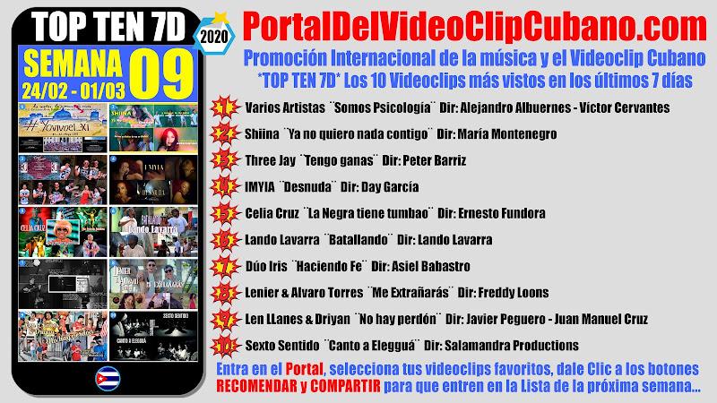 Artistas ganadores del * TOP TEN 7D * con los 10 Videoclips más vistos en la semana 09 (24/02 a 01/03 de 2020) en el Portal Del Vídeo Clip Cubano